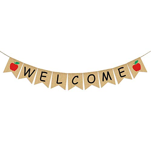 Welcome Banner Burlap - First Day of School Banner - Teacher Banner - Classroom Decor- Back to School Decorations - Office Decor - Welcome Banner for Party (First Day Back To School Teacher Gift)