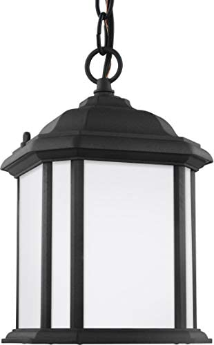Sea Gull Lighting 60529-12 Kent One-Light Outdoor Semi-Flush Convertible Pendant, Black