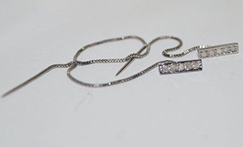 - Estate Style 0.60ctw Pave Diamond 925 Sterling Silver Wedding bar Threader Earrings