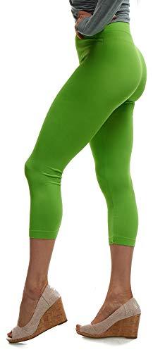 - Lush Moda Seamless Capri Length Basic Cropped Leggings - Variety of Colors - Green OS