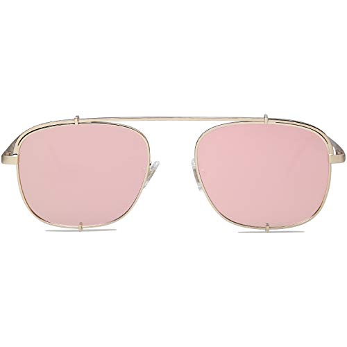 SOJOS Small Square Polarized Sunglasses with Spring Hinges Mirrored Lens SUNRAYS SJ1103 with Gold Frame/Pink Mirrored Polarized ()