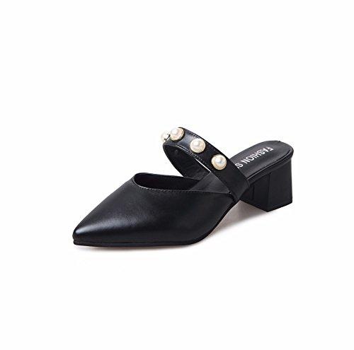 Las Pearl Nítidos YUCH con Damas Black Agudos Zapatillas Sandals Y Summer 1wcRqdARr