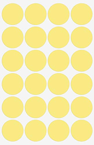 Sticker Dots Colored Labels - Round Stickers Pastel Yellow 25mm - 120 Pack by Royal Green