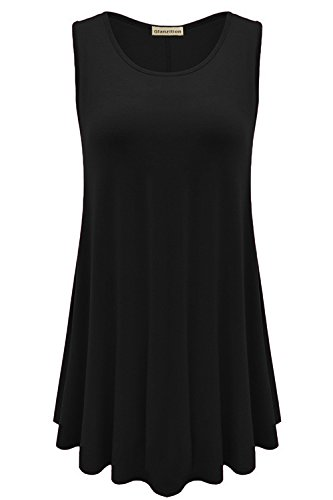 Glanzition Womens Sleeveless Tunics for Women Tank Tops Cotton Loose Fit Plus Size