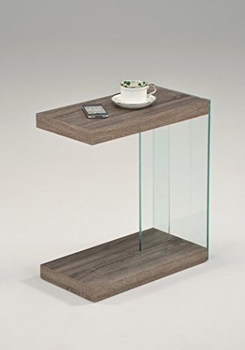 Glass Wide End Table - Reclaimed Wood Look Finish Glass Chrome Snack Side End Table