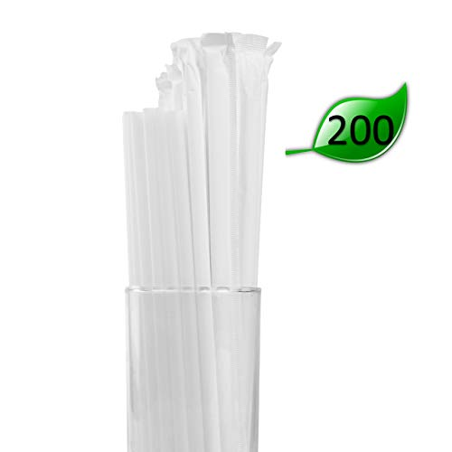 (Biodegradable PLA Drinking Straws - Compostable and Disposable Paper Wrapped Straws (200 Pack of 8 Inch Straws))