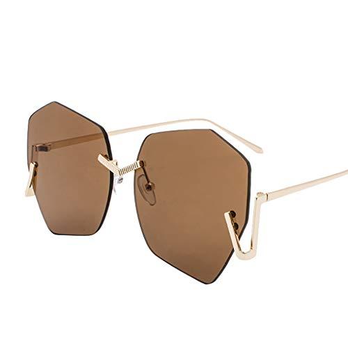 iYBUIA Unisex Cat Eye Fashion Metal Frame Mirrored Flat Lenses Women Sunglasses