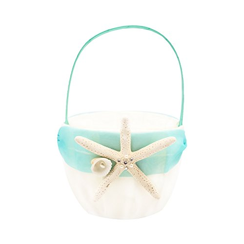 Knot Dinner (Abbie Home Organza Bow Knot Wedding Flower Basket Romantic Beach Wedding Party Favor (Turquoise Basket))