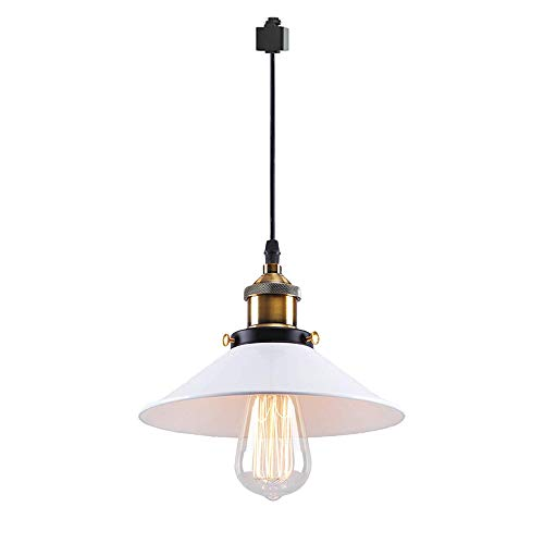 ANYE 1-Light H-Type Track Light Pendants Restaurant Chandelier White Lamp Shade Decorative Instant Retro Pendant Light Industrial Factory Pendant Lamp Bulb Not Included