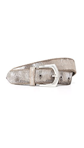 B. Belt Women's Metallic Twill Print Belt, Silver/Taupe, Small by B. Belt
