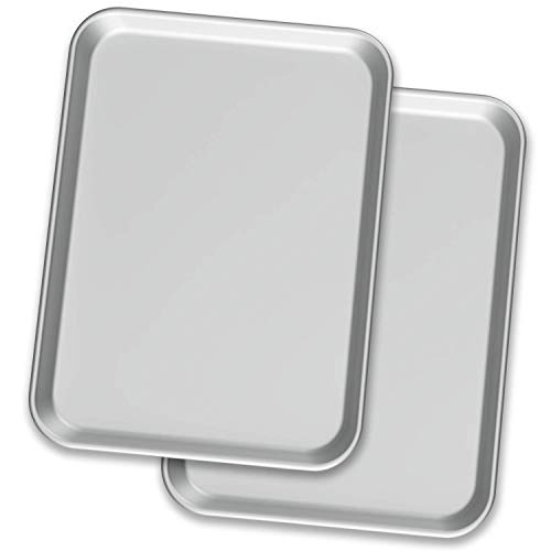 """Baking Sheet Pans – Two Aluminium Cookie Sheet Pan (13"""" x 18"""") – for Commercial or Home Use. Half Size Baking Pan Set w…"""