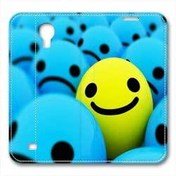 Samsung S4 leather Case,Samsung S4 Cases ,The blue background smile Custom Samsung S4 High-grade leather Cases