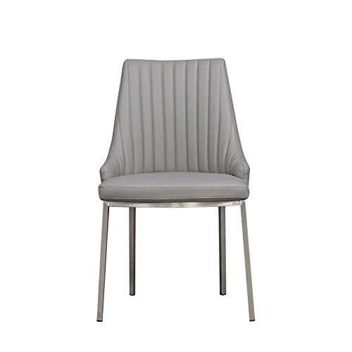 RMG Fine Imports Monroe Side Chair - Modern Dining Chair with Brushed Steel Base - Side Chair with Faux Leather Upholstery - Set of 4 in Light -