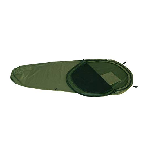 KHAMPA Bivy Sleeping Bag Sack and Tent, Breathable Personal Shelter, Lightweight, Drawstring Bag, Water-Resistant, Taped Seams, Mosquito Netting, 16 oz - Green