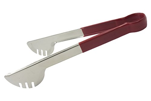 GRILL ME Salad Tongs 10.75 Inch Stainless Steel Edlund Tongs Serving Tong, Spaghetti Tongs, Pastry Tong, Salad Tongs With Red (Mercer Toilet Bowl)