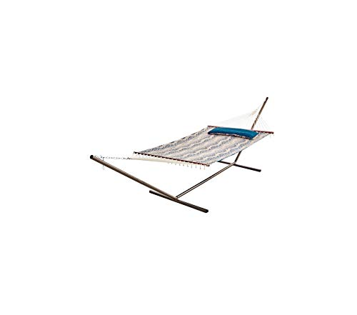 (Wood & Style Patio Outdoor Garden Premium Java Reversible Double Hammock, Batik and Teal, with Plush Quilted Cotton Fabric That is Weather-Resistant, Durable and Comfortable, Does Not Include Stand)
