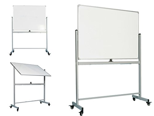 OfficeGenius Mobile Whiteboard on Wheels with Stand, 48x36 White Board, Magnetic Double Sided Dry Erase Marker Board w/Quick Flip Reversible Portable Standing Easel for Classrooms, Offices, Homeschool