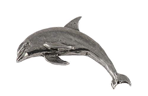 Pewter Womens Brooch - Bottle-Nosed Dolphin Mammal Pewter Lapel Pin, Brooch, Jewelry, M062