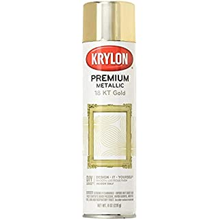 Krylon K01000A07 Premium Metallic Spray Paint Resembles Actual Plating, 18K Gold, 8 oz