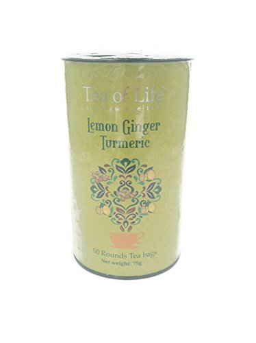 50 Tea Bag Tin - Tea of Life Lemon Ginger Turmeric 50 Rounds Tea Bags 75g Tin