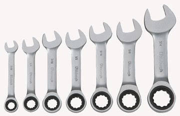 Pittsburgh Professional 7 Piece SAE Stubby Ratcheting Combo Wrench Set