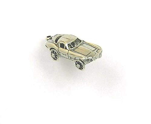 Sterling Silver 3-D Movable Corvette Charm for Jewelry Making Bracelet Necklace DIY Crafts
