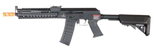 lancer tactical lt-10 beta project ak-47 ris electric airsoft gun polymer body metal gearbox fps-380 w/ high capacity magazine (black)(Airsoft Gun)