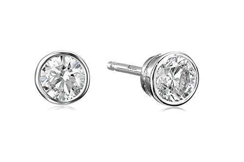 14k White Gold Bezel Set Diamond with Friction Post and Back Stud Earrings (1/3cttw, K-L Color, I2-I3 ()