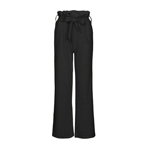 Taille Feuilles Lotus Haut de de Fluide Jambes Harem Pantalons Sangles Larges Noir Femme Pantalons Bringbring Parleur Haute 6Y7gAIff