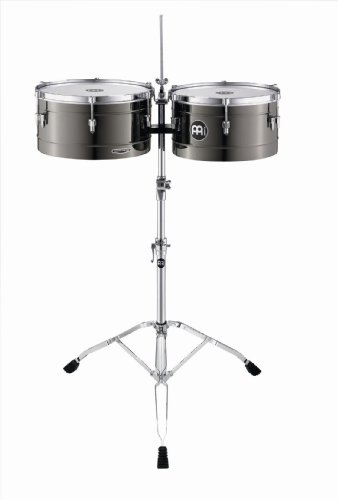 Meinl Percussion MT1415BN Marathon Series Black Nickel Finish Steel Timbales, 14-Inch and 15-Inch with Stand by Meinl Percussion