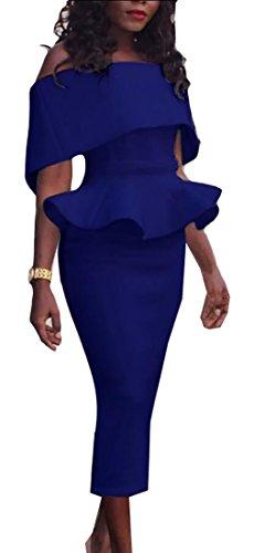 Jaycargogo Peplum Womens Off Dress Bodycon 1 Summer Shoulder Ruffle aTwqarA