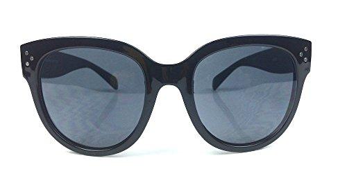 Audrey Oversized Square Round Womens Vintage Fashion Keyhole Sunglasses (Black)