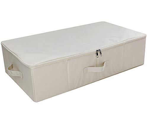 (iwill CREATE PRO Underbed Storage Cubes with Lid, Underbed Shoe Organizer, Garment Storage Boxes, Beige)
