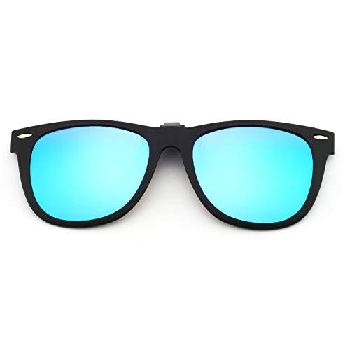 OCCI CHIARI Men Polarized Black Clip-on Sunglasses Lenses Driving Plastic Lens UV400 Protection (C)