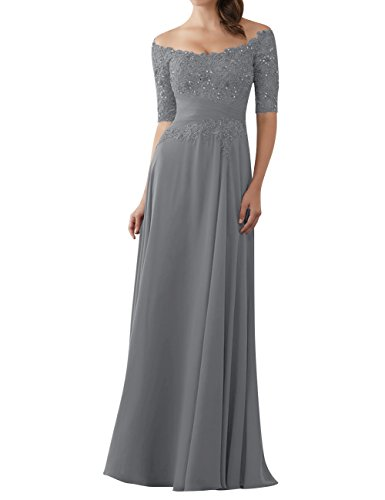 Evening Dresses Mother of The Bride Gowns with Sleeves Lace Long Chiffon Beaded Grey US14