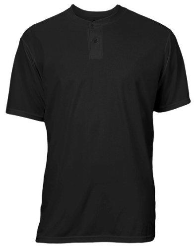 - Soffe MJ 996A Men's 2-Button Performance Henley Shirt, Black - Med
