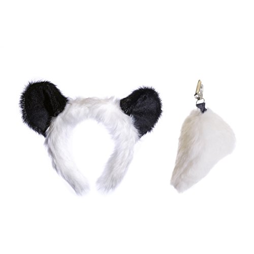 Wildlife Tree Plush Panda Ears Headband and Tail Set for Panda Costume, Cosplay, Pretend Animal Play or Safari Party Costumes