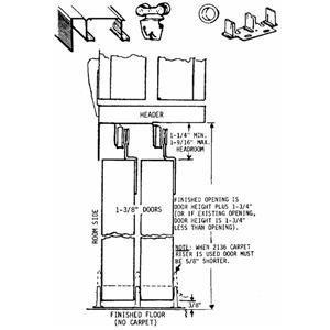 Johnson 2136 PPK1 1//2 x 4 Bypass Door Carpet Riser Door Guide