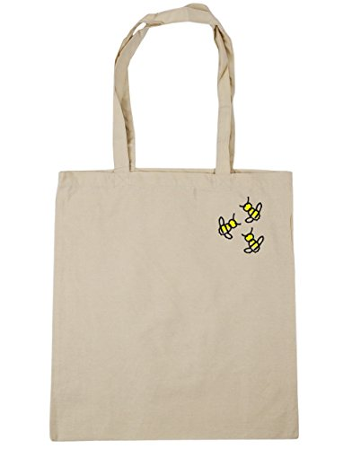 Pocket Bumblebee Beach Bag 42cm Shopping litres 10 x38cm Natural HippoWarehouse Trio Gym Tote w4FUw1