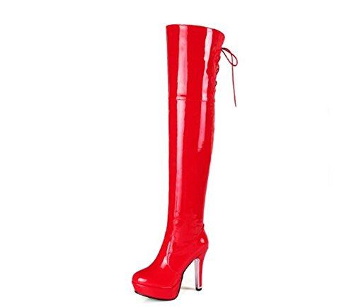 Lackleder Reißverschluss Stiefel Seitlicher Damen Herbst Nachtclub Party High Stiefel Winter Oberschenkel Langer Neue Overknee Rot Mode Heel Schwarz 0qqwzp