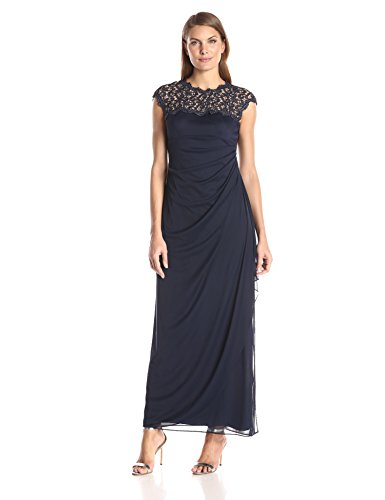 - Alex Evenings Women's Metallic Cutout Lace Dress (Petite and Regular Sizes), Navy, 16