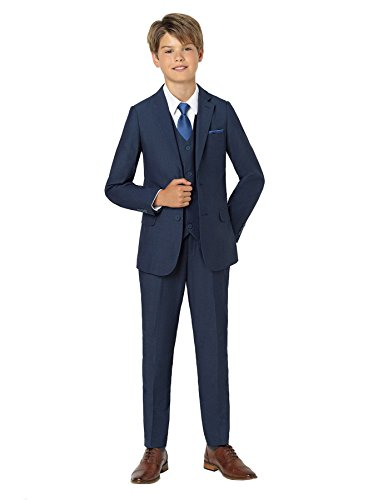 - Paisley of London, Ezra Boys Premium mesh Blue Suit, Slim-Cut Prom Suit Set, 2T