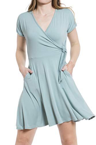 Daisy Del Sol Women's Wrap Swing V-Neck Knit Summer with Pockets Sundress Dress (Small, Slate Blue)