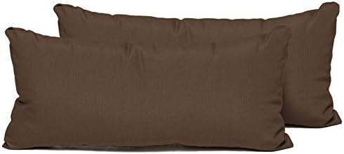 TK Classics Cocoa Outdoor Throw Pillows Rectangle Set of 2 Cocoa
