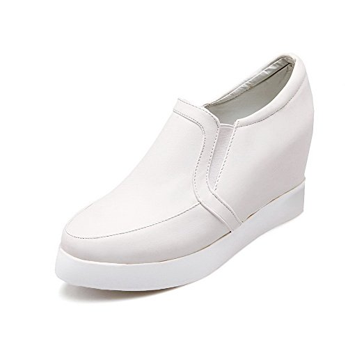 VogueZone009 Damen Hoher Absatz Weiches Material Rein Ziehen auf Rund Zehe Pumps Schuhe Weiß