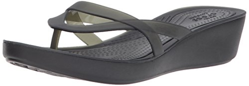 Crocs Women's Isabella Wedge Flip W Flop, Black, 7 M US