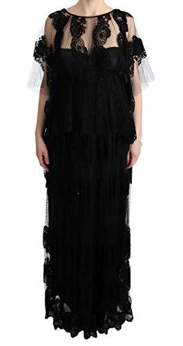 Dolce & Gabbana Black Floral Lace Ricamo Gown Shift Dress