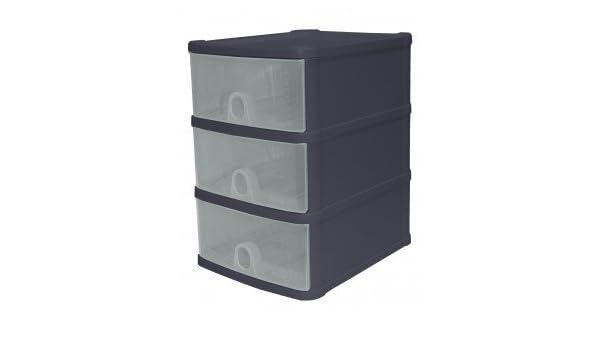 Cajonera HANDI de 3cajones (Material: Plástico. Medidas: Medidas de la cajonera: 24,5x20x29cm Medidas de los cajones: 17x21,5x8cm.
