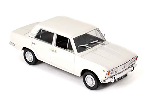 Polski Fiat 125P White 1967 Year - Legendary Soviet Car 1/43 Scale Collectible Model Vehicle - Car Produced in The Polish People