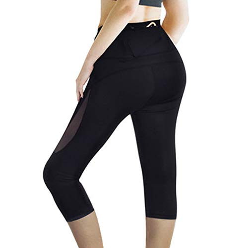 - Rolewpy High Waist Out Pocket Capri Pants, Yoga Workout Leggings for Women Tummy Control, Ladies' Exercise Clothes for Summer Activewearet (Black, X-Large)